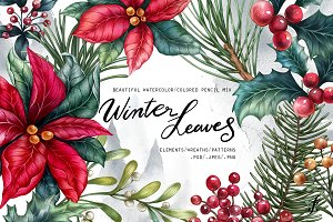 Winter Leaves Graphic set