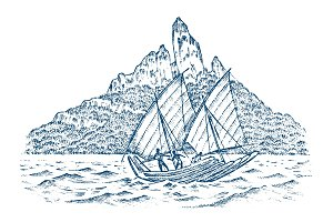 Sailboat in the sea on a