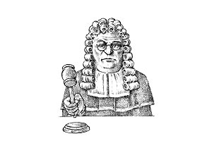 Judge man or magistrate with a