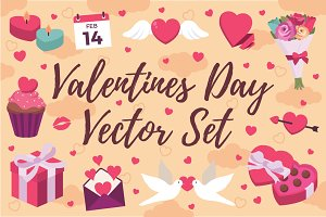 Valentines Day Love Birds Vector Set