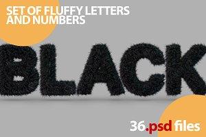 Uppercase fluffy, furry BLACK font