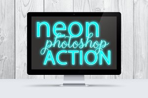 Turquoise Neon Photoshop Action