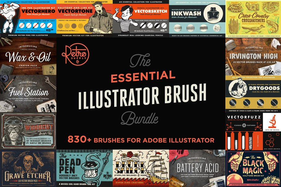 Pencilcraft Brushes by Guerillacraft ~ Illustrator Add-Ons