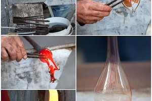 Collage of glass blowing.
