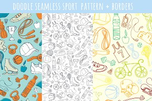 Doodle seamless sport pattern+border