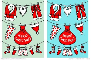 Santa Claus clothesline, vector