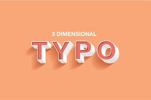 3dimensional typography vector