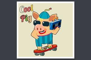 Cool Pig on Skateboard Poster