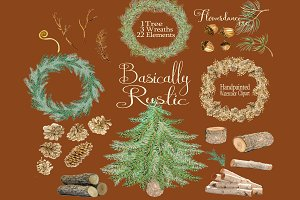 Rustic Woodland Christmas Clipart
