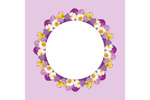Round frame. Chamomiles and pansies