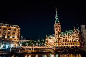 Hamburg Rathaus City Hall at night
