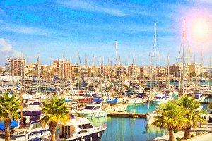Yachts, boats pier in port resort