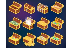 Chest vector treasure box with gold