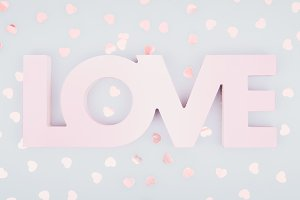 Pale pink LOVE and confetti banner