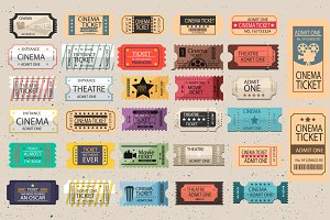 30 Retro tickets Vector set