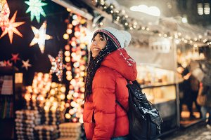 Woman shopping on Christmas fair
