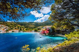 Beautiful blue bay in Assos village