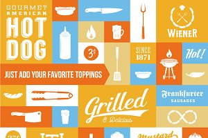 Hot Dog & Sausages Icons & Labels