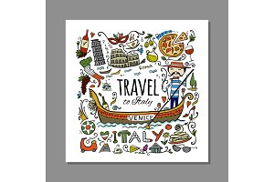 Travel to Italy. Greeting card for