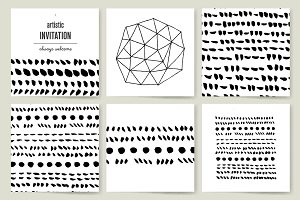 Vector set of ink brush strokes