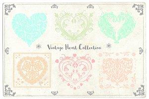Vintage Vector Hearts