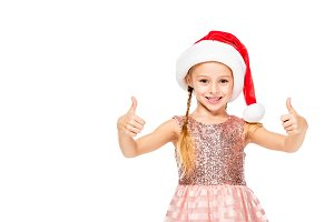 adorable little child in santa hat s