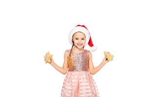 happy little child in santa hat with