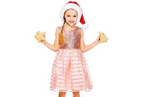 smiling little child in santa hat wi