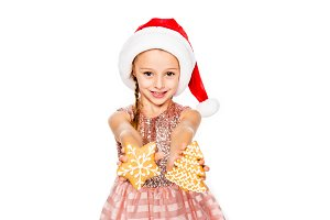 adorable little child in santa hat w