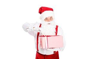 santa opening christmas present and