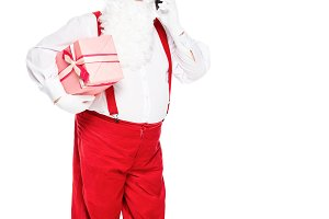 santa claus in suspenders holding gi
