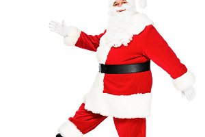 side view of santa claus walking and