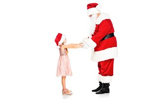 side view of santa claus and little