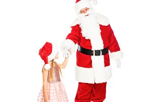 santa claus and little child holding