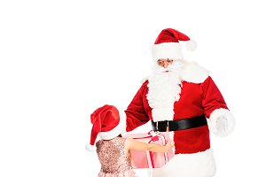 smiling santa claus giving present t