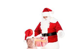 smiling santa claus giving present t
