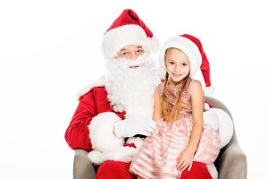 happy santa claus and little child s