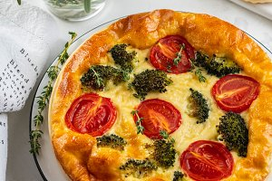 Vegetable pie quiche with broccoli