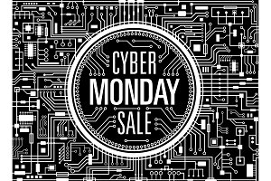 Cyber monday sale vector banner
