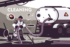Sewer Cleaning service flat poster