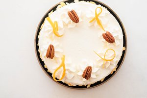 Vegan, raw carrot cake. Healthy food