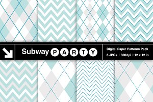 Aqua Blue & White Chevron & Argyle