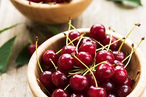 Bowls with cherries