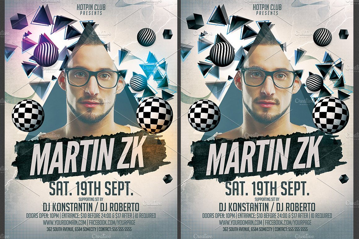 Minimal dj party flyer template flyer templates creative market saigontimesfo