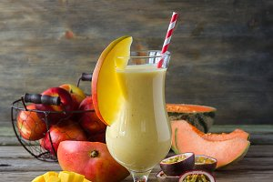 Tropical fruits summer smoothie