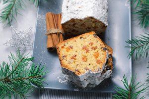 Fruit and Nut Loaf Cake Dusted with