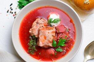 Borscht, Red Soup Made of Beetroot a