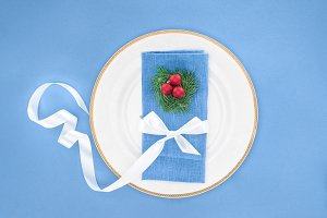top view of plate with christmas bal
