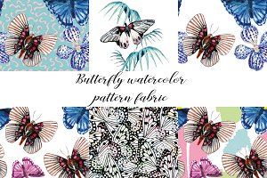 HandDrawn Butterflies Watercolor Set