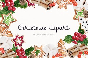 Christmas handpainted clipart